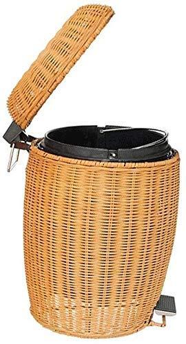Trash Can, Pedal Low Carbon Green Handgemaakte Rattan Made met Deksel Ronde, Woonkamer Slaapkamer Study vuilnisbak (Kleur: Geel, Maat: 3L) Leuke en praktische vuilnisbak.