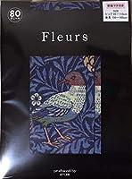 Fleurs(フルール) FZ-2000_2(1605) プリントタイツ ウィリアム・モリス 鳥柄 マチ付きゆったりタイプ 80デニール ゾッキタイプ 日本製