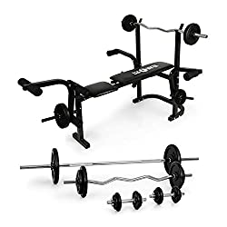 Klarfit weight bench set Olympia weight bench with 4 dumbbells and 18 weights 105kg (bench press, butterfly, leg curler, 1x curl dumbbell, 1x long handle, 2 dumbbells)