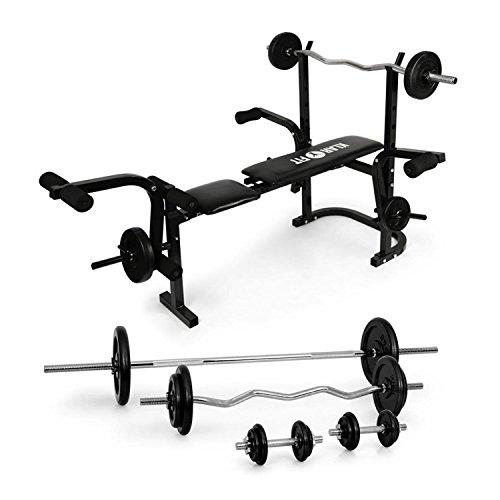 Klarfit Fitness Set - Pack complet de musculation avec banc multifonctions et set d'haltères, 18 poids, barres longues et courtes, banc avec curler et autres exercices intégrés, noir