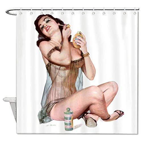 "yyone Bath Curtain Hair Hair,Primping and Salon, Vintage Sexy Ladies Shower Curtain with Hooks for Bathroom Decor 60"" X 72"""