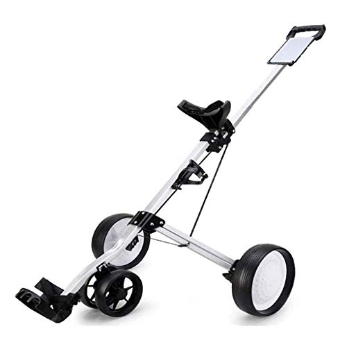Charm&Cstay Golf Push Cart, 4-Wheel Foldable Golf Pull Cart with Score Board, Silver