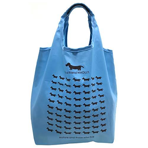 優美社 エコバッグ 犬柄 ブルー 約縦31×横25×マチ18cm WHOLLY 折りたたみ コンパクト 買い物袋 3L01-01