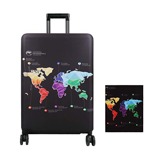 YOUTHUNION 18-32 Inches Map Travel Luggage Cover Elastic Suitcase Protective Cover Luggage Trolley Case Cover Protector (L, Color 6)