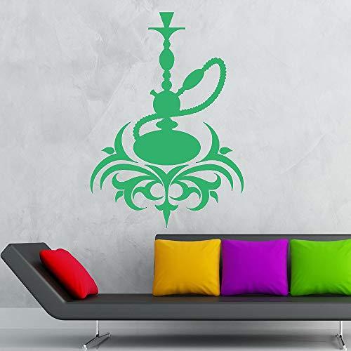 Calcomanía de pared de vinilo de cachimba Café árabe Cultura Fumar Humo Shisha Etiqueta de la pared Decoración moderna del hogar Sala de estar Home Deco color-1 29x42cm