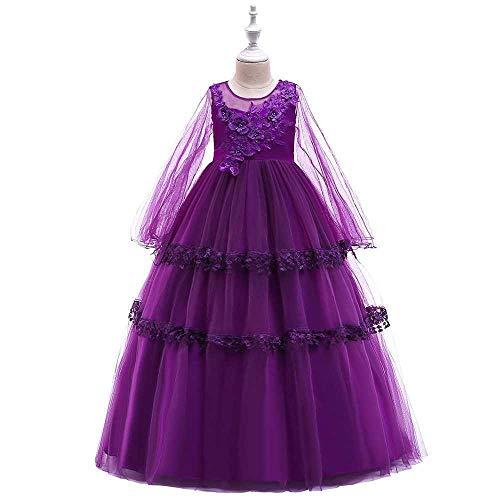 Chicas Pageant Princess Flower Dress Kids Prom Puffy Ball Gowns Longitud del Piso Baile Vestido de Noche para niños niñas (Color : Purple, Size : 12-13Years)