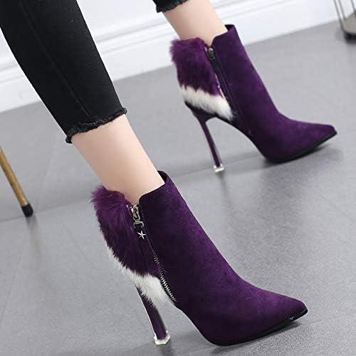 HRCxue Femmes Bout Rond Martin Bottes Chaussures Chaussures Chaussures pour Femmes en Coton, Plus tempéraHommest de Velours Bottes à Talons Hauts Bottes pour Enfants, 37, Violet d90