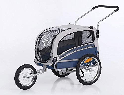 Sepnine Remolque Bicicleta Perros Carro Cochecito para Transporte Mascota 2 En 1 Convertible En Carro para Correr con Barra Y Kit De Footing Azul