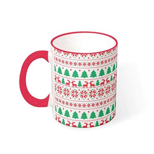 O4EC2-8 11 Oz Christmas Happy Wasser Tee Tasse mit Griff Glatte Keramik Humor Tasse - Mädchen Frauen, Büro verwenden mred 330ml