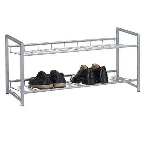 CARO-Möbel Schuhregal System Schuhständer Schuhablage mit 2 Fächern für ca. 8 Paar Schuhe, 80 cm breit, Metall Silber lackiert