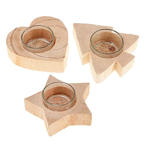 JXHYKJ 3Pcs Solid Wood Decor Candle Holder Candlestick Tea Light Holder Holidays