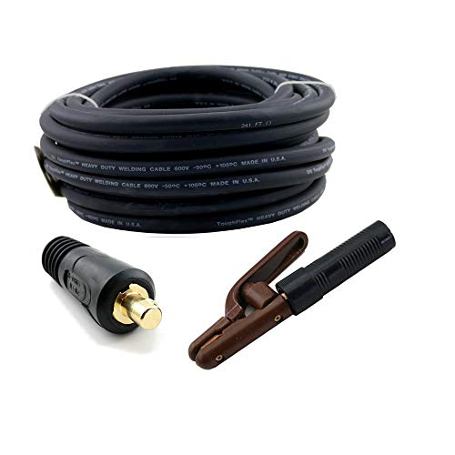 WeldingCity 25-ft 2-AWG Welding Cable (Made in USA) Whip Lead with 300 Amp Stick Electrode Holder Stinger and Dinse Connector