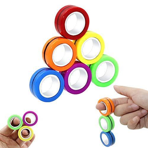 FunnyMe Decompression Magnetic Rings Fidget Toys, Professional Fidget Spinner Stress Relief Rings...