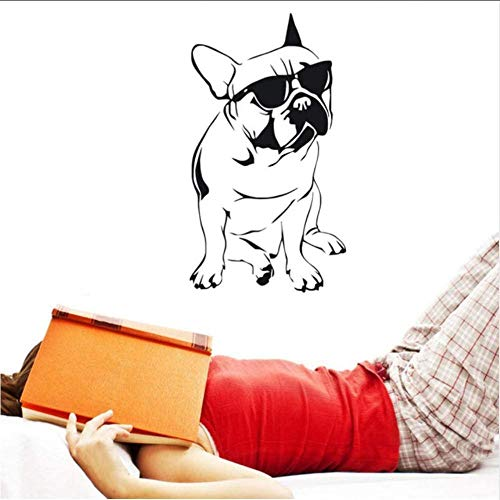 Mooie Franse Bulldog met zonnebril Muursticker Jongens Slaapkamer Decoratieve Vinyl Dier Muursticker 33 * 59Cm