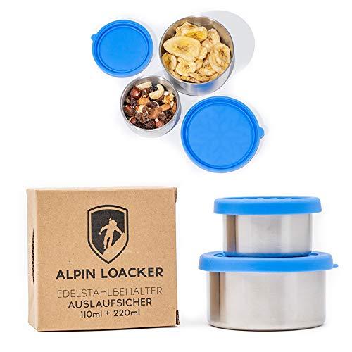 Alpin Loacker 2 contenedores de acero inoxidable a prueba de fugas, fiambreras para salsas y salsas, el recipiente hermético para tus alimentos líquidos.