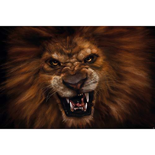 GREAT ART® Fototapete – Löwe – Wandbild Dekoration Afrika Tiere Katze Bild Löwe Wohnzimmer Raubkatze Großkatze Raubtier Wallpaper Foto-Tapete Wandtapete Poster Moderne (210 x 140 cm)