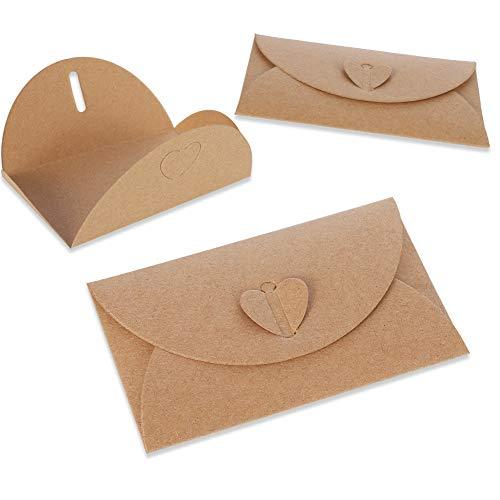 lovingmona 50 Stück Kraftpapier Umschläge 17.5 x 11cm Großbrief Briefumschläge mit Herz Verschluss für Grußkarten Weihnachten Valentinstag Geschenkkarten