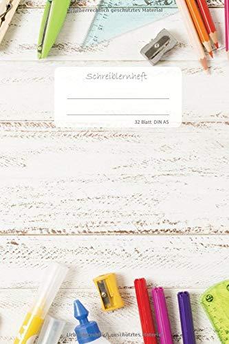 Schreiblernheft DIN A5 32 Blatt: Übungsheft für Erstklässler, Dreifachlineatur der 1. Klasse, DIN A5, 32 Blatt 64 Seiten, glattes Cover, Notizen