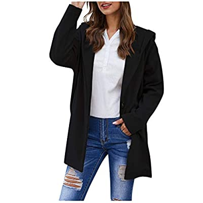 LEKODE Women Sweater Outwear Long Sleeve Coat Brief Button Hooded Solid Coat(Black,XL)