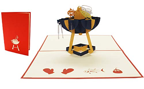 LIN17499, POP UP Karten Geburtstag, Grillparty Einladung, Grill Gutschein, 3D Grußkarten Geburtstagskarte, Klappkarte Vatertag Grill Party Einladung, Gutschein Geschenk Grillanlage, N272
