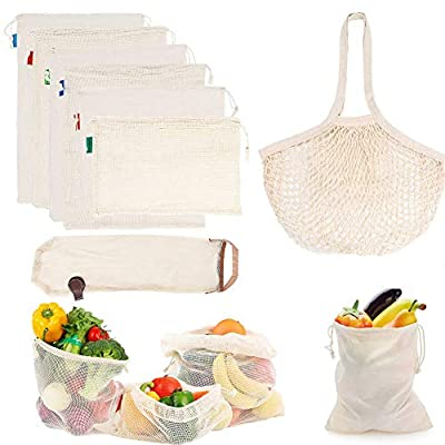 OurWarm 8 Pack Reusable Produce Bags, Cotton Mesh Bags Muslin Bags with Drawstring, Reusable Washable Grocery Bags for Shopping Fruit Vegetable Food Kitchen Toys Storage