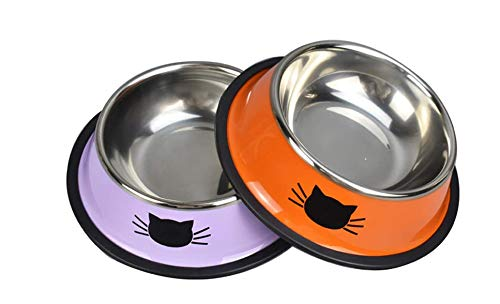 Yasma 2Pcs Cat Bowls Stainless Steel Pet Cat Bowl Kitten Rabbit Cat Dish Bowl with Cute Cats Painted cat Food Dish Easy to Clean Durable Cat Dish for Food and Water (Orange+Purple)