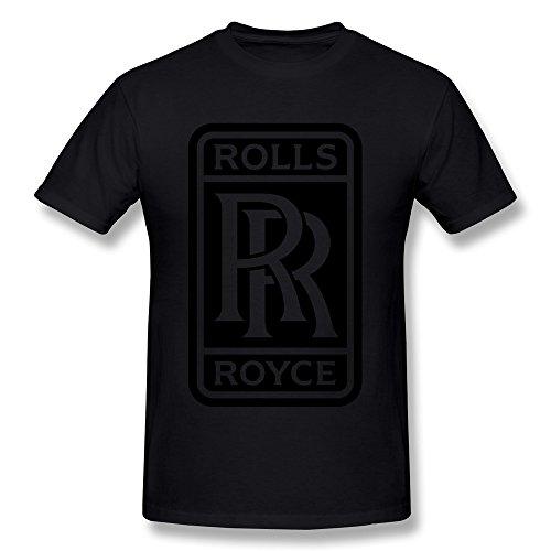 FZLB Men's Rolls Royce Logo T-Shirt Medium Black