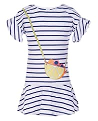 Features striped tee shirt dress with flutter sleeves, dropped waist skirt and lemon purse graphics Works well with this dress is perfect for any occasion. Coordinate it with lightweight cardigan sweater or jacket, sandals, shoes or sneakers for a tr...