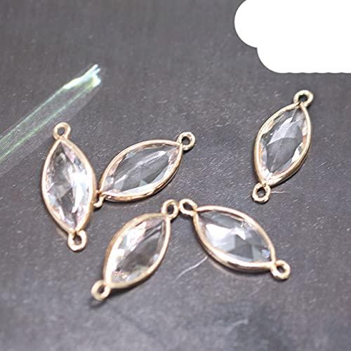 4p Cobre cristal brillante de un solo y doble orificio, colgantes, conectores, collar, pendiente, accesorios de joyería Diy de alta calidad-NO6