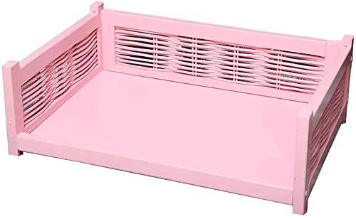 UIZSDIUZ Haustierbett Hundebett Haustier mit Holzrahmen, Sturdy Durable Orthopädische Lounge Sofa, for Small Medium Large Katzen Hunde Katzenbett (Color : Pink, Size : L(L70×W48×H24cm))