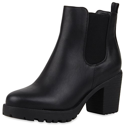 SCARPE VITA Damen Stiefeletten Chelsea Boots Profilsohle Blockabsatz Schuhe 164143 Schwarz 38