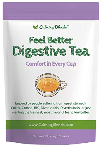 Calming Blends Feel Better Tea for Upset Stomach | Certified Organic, Caffeine Free | Crohns, IBS, Colitis, Stress | 36 Cups