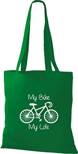 Stoffbeutel Fahrrad my bike my life BMX Kult Baumwolltasche, Beutel , Farbe kelly