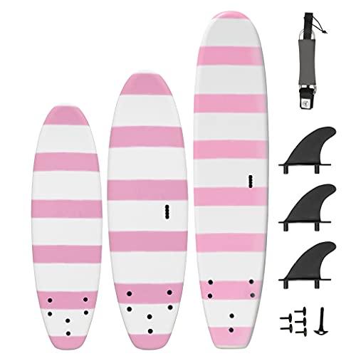 South Bay Board Co. - 5' / 6' / 8' Beginner Surfboards - Safe Soft-Top Surfboards - Beginner Surfboards for Kids & Adults – Strong Triple Stringer Durability - Leash & Safe-Edge Fins Included