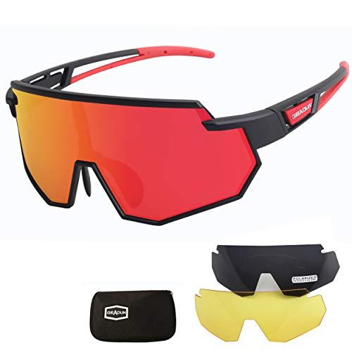 JEPOZRA Gafas de Ciclismo Polarizadas Gafas de Sol Deportivas con Montura TR90 Gafas de Bicicleta Para Hombres Mujeres con 3 Lentes Intercambiables Anti-UV400, para Ciclismo, Béisbol, Pesca, esquí