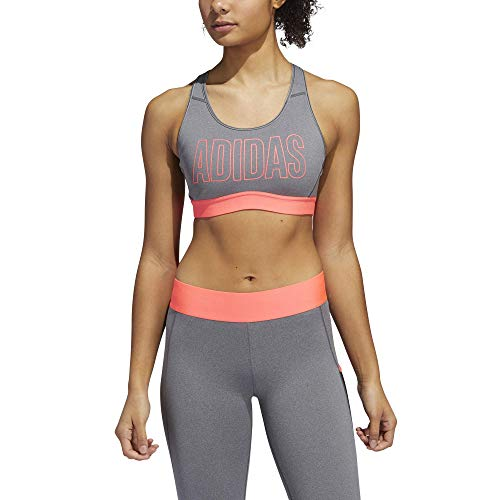 adidas womens Don't Rest Alphaskin Bra Dark Grey/Signal Pink X-Large