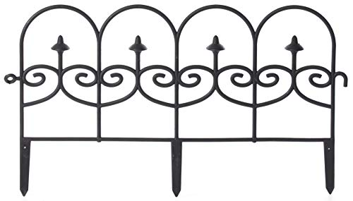 Gardenised QI003741.LB Decorative Black Vinyl Garden Patio Lawn Fence Landscape Panel Border, 24 x 13