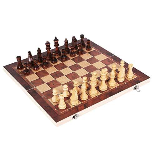 Odoukey 29 * 29cm 3 en 1 de ajedrez Plegable de Madera de Color de ajedrez con el Tablero de ajedrez Grande para los Regalos Niños Adultos Principiantes para niños