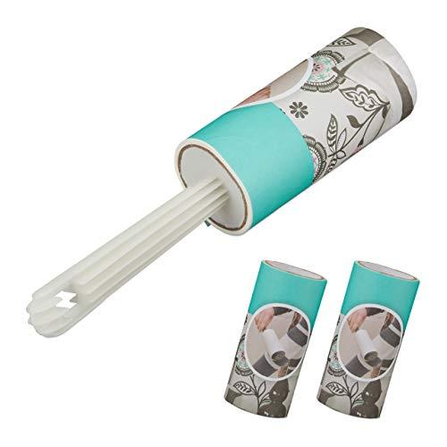 Relaxdays Fusselrolle mit 2 Ersatzrollen, Fusselroller Kleidung, gegen Fusseln & Haare, Fusselentferner, 105 Blatt, weiß
