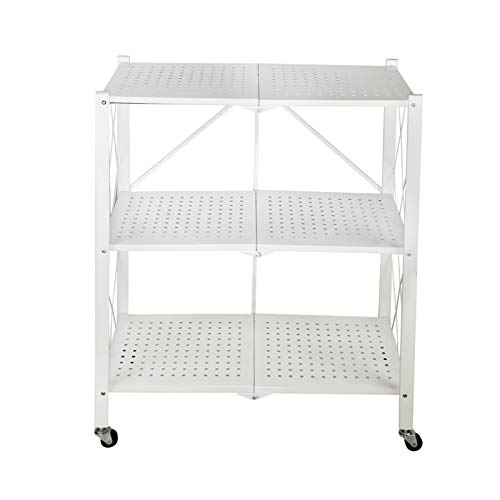 Storage Shelving Unit With Wheels, 3-Tier Foldable Metal Rack Freestanding For Garage Kitchen Collapsible Heavy Duty Organizer Shelves