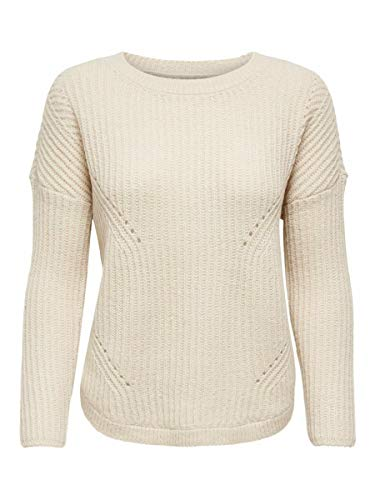 Only ONLBERNICE L/S Round Pullover KNT Noos Suter Pulver, Blancocap Gris, L para Mujer