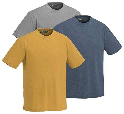 Pinewood Herren Outdoor 3-Pack T-Shirt, Light Grey/Dark Dive/Dark Mustard, XL