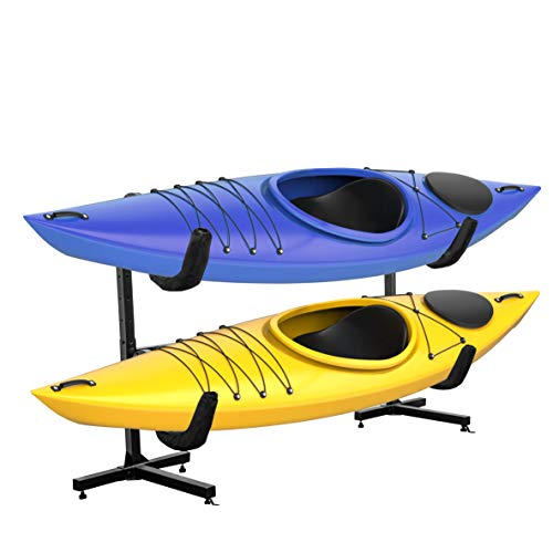 RaxGo Freestanding Kayak Rack, Heavy Duty Storage for Two-Kayak, SUP, Canoe & Paddleboard for Indoor, Outdoor, Garage, Shed, or Dock, Adjustable Height