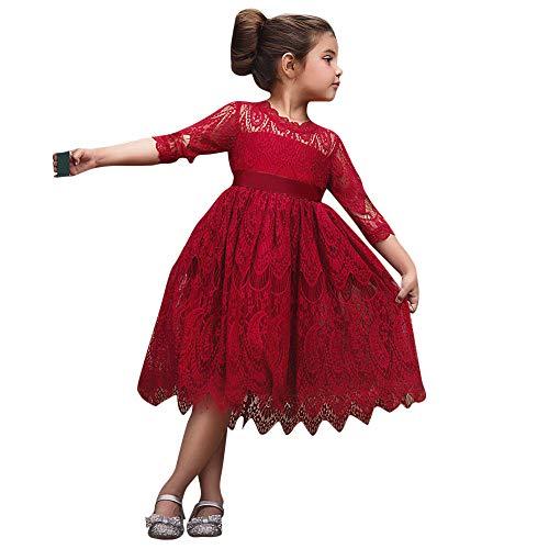 ODJOY-FAN-Vestitini Bimba neonata Vestiti dello Spettacolo del Partito di Tulle della Principessa Fiore Pizzo Bambino dei Capretti Bambini-Abbigliamento Neonato Tuta