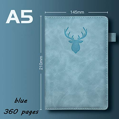 yangdan HF - Cuaderno de piel gruesa, tamaño A5, tamaño A5, para oficina, reunión, disco de trabajo, retro, color azul, tamaño A5