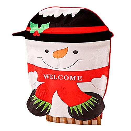SINGFNH Juego de 4 fundas de asiento para silla de Navidad, diseño de muñeco de nieve de Papá Noel