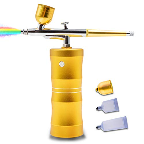 QUEVINA Cordless Airbrush Kit Upgrade Spray Handheld Airbrush Painting Kit with Compressor Aerografo para Reposteria For Barber Makeup Tattoo Nails Art Drawing Cake Decoration Model Coloring Gold