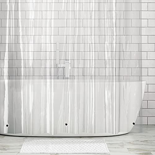 mDesign Cortina de baño Extra Larga – Cortinas de Ducha con 12 Ojales inoxidables para colocación Sencilla – Cortina de Ducha y bañera Impermeable – Transparente