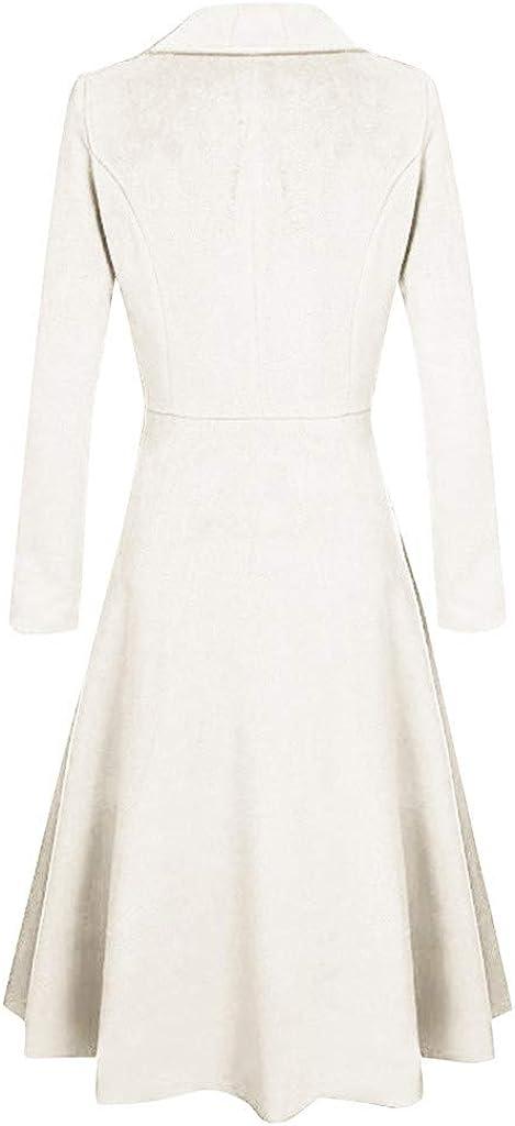 Blazer Kleid Damen Lang Woll Jacke Mantel mit KnöPfen,Kanpola Elegant Blusenkleid Herbst Winter Business Blazermantel 10-weiß