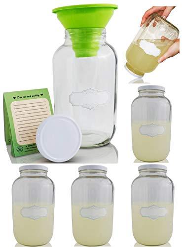 SMIJOS 6 x 4 Liter Glas Aufbewahrung für Mehl und Zucker - große Öffnung für Hobby Küche l große Gasbehälter für Lebensmittel Aufbewahrung mit Etiketten und Trichter